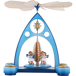 1 - Tier Pyramid  -  Blue with Colored Angels and Wind Instruments  -  39x30,6x19cm / 7.5 inch
