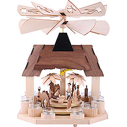 1 - Tier Pyramid  -  Nativity Scene with Two Counter Rotating Winged Wheels  -  41cm / 16 inch