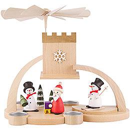 1 - Tier Pyramid  -  Snowman and Santa Claus  -  29cm / 11.4 inch