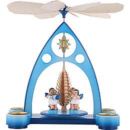 1 - stöckige Pyramide blau mit bunten Engeln mit Blasinstrumenten  -  39x30,6x19cm