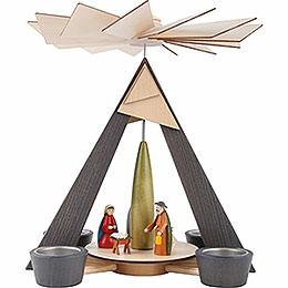 1 - stöckige Pyramide mit Christi Geburt, grau  -  29cm