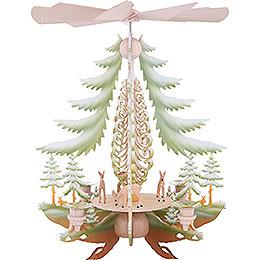 1 - stöckige Pyramide mit geschnitzten Rehen, farbig  -  35cm