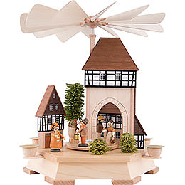 1 - tier pyramid Old town with city gate, natural  -  52cm / 20.5inch