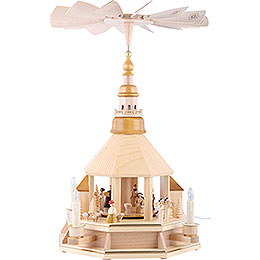1 - tier pyramid church of Seiffen, natural wood  -  52cm / 20.5inch