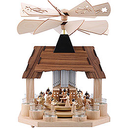 1 - tier pyramid for tealights Angels with two counter rotating winged wheels  -  41cm / 16inch