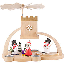 1 - tier pyramid with snowman and Santa Claus  -  29cm / 11.4inch