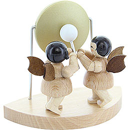 2 Angels with Big Gong Fitting Cloud Connector System  -  Natural Colors  -  Standing  -  6cm / 2,3 inch