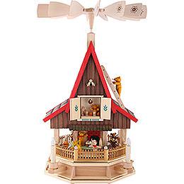 2 - stöckiges Adventshaus Bärenhaus elektrisch von Richard Glässer  -  53cm