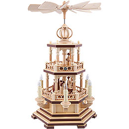 2 - tier pyramid  -  The Christmas Story  -  48cm / 19 inch  -  230 V electr. motor