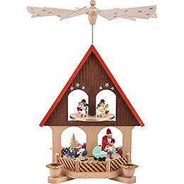 2 - tier pyramid house giving scene  -  36cm / 14.2inch