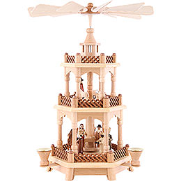 3 - Tier Pyramid  -  Nativity Scene Natural Wood  -  42cm /16.5 inch
