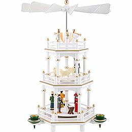 3 - stöckige Pyramide Weihnachten, weiss  -  35cm