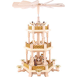 3 -  tier Pyramid Nativity Scene natural wood  -  16 inch  -  40cm