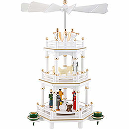 3 - tier pyramid Christmas, white  -  35cm / 13.8inch