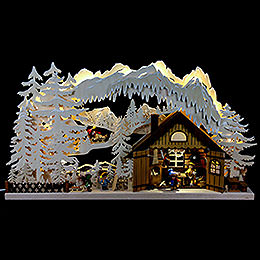 3D Double Arch  -  Skiing Cabin  -  72x43x8cm / 28x17x3 inch