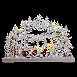 3D Double Arch  -  Snowball Fight with White Frost  -  43x30x7cm / 17x12x3 inch