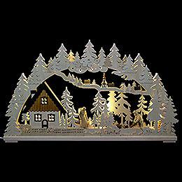3D Schwibbogen  -  Altseiffen mit geschnitzten Figuren  -  72x43x8cm