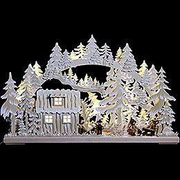 3D Schwibbogen  -  Blockhütte mit Waldarbeitern und Raureif  -  62x38x8cm