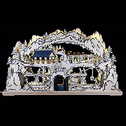 3D - double candle arch with mining scenery  -  72x42x8cm / 28x17x3inch