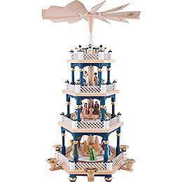 4 - Tier Pyramid  -  Nativity Scene Blue  -  54cm / 21 inch