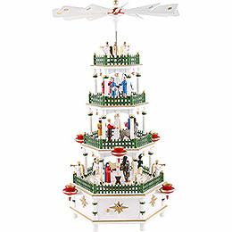 4 - Tier Pyramid  -  Nativity Scene White with Musical Work  -  52cm / 20 inch