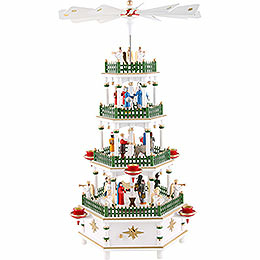 4 - tier pyramid  -  Nativity Scene white with musical work  -  52cm / 20 inch