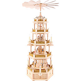 5 -  tier Pyramid Nativity Scene natural wood  -  30 inch  -  75cm