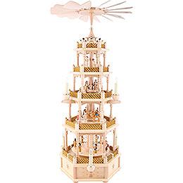 5 -  tier Pyramid Nativity Scene natural wood  -  30 inch  -  75cm