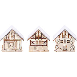 Additional houses with snow, set of three  -  5,5x5cm / 2.2x2inch