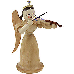 Angel long skirt with violin with SWAROVSKI ELEMENTS, natural  -  6,6cm / 2.5inch
