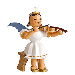 Angel short skirt colored, violin sitting  -  6,6cm / 2.5inch