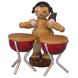 Angel with 2 Timbals  -  Natural Colors  -  Standing  -  6cm / 2,3 inch
