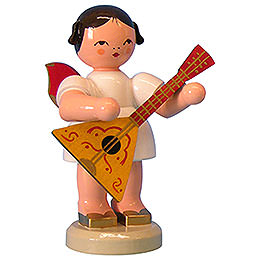 Angel with Balalaika  -  Red Wings  -  Standing  -  9,5cm / 3,7 inch