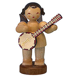 Angel with Banjo  -  Natural Colors  -  Standing  -  6cm / 2,3 inch