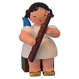 Angel with Bassoon  -  Blue Wings  -  Sitting  -  5cm / 2 inch