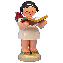 Angel with Book  -  Red Wings  -  Standing  -  9,5cm / 3,7 inch