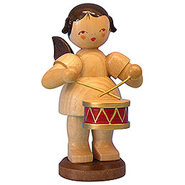 Angel with Drum  -  Natural Colors  -  Standing  -  9,5cm / 3,7 inch