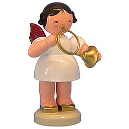 Angel with French Horn  -  Red Wings  -  Standing  -  9,5cm / 3,7 inch