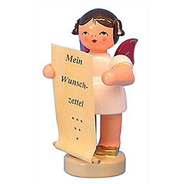 Angel with List of Whishes  -  Red Wings  -  Standing  -  6cm / 2,3 inch