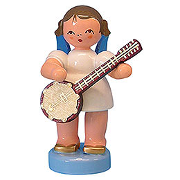 Angel with banjo  -  Blue Wings  -  standing  -  6cm / 2,3 inch