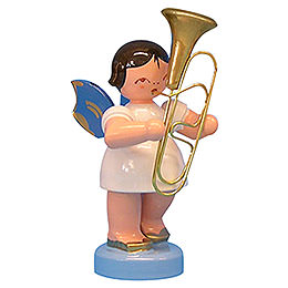 Angel with baritone  -  Blue Wings  -  standing  -  6cm / 2,3 inch