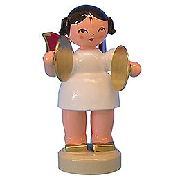 Angel with cymbal  -  Red Wings  -  standing  -  6cm / 2,3 inch