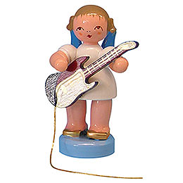 Angel with electric guitar  -  Blue Wings  -  standing  -  6cm / 2,3 inch