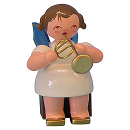 Angel with flugelhorn  -  Blue Wings  -  sitting  -  5cm / 2 inch