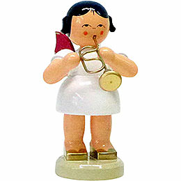Angel with flugelhorn  -  Red wings  -  standing  -  9,5cm / 3.7inch