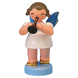 Angel with flute  -  Blue Wings  -  standing  -  6cm / 2,3 inch