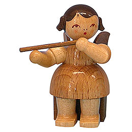 Angel with flute  -  natural colors  -  sitting  -  5cm / 2 inch
