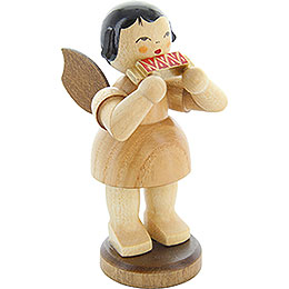 Angel with mouth organ  -  natural colors  -  standing  -  9,5cm / 3.7inch