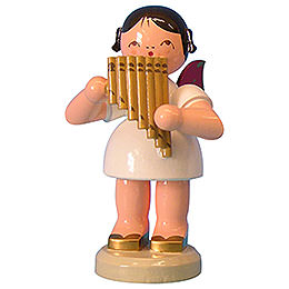 Angel with pan pipe  -  Red Wings  -  standing  -  9,5cm / 3,7 inch