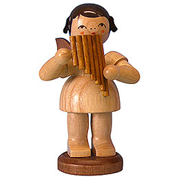 Angel with pan pipe  -  natural colors  -  standing  -  9,5cm / 3,7 inch